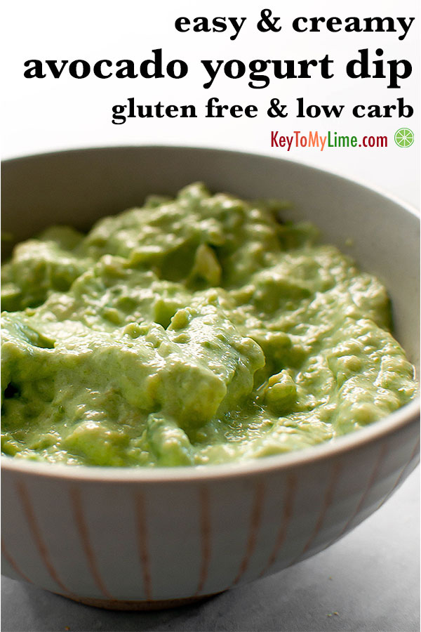 Creamy avocado yogurt dip in a bowl.