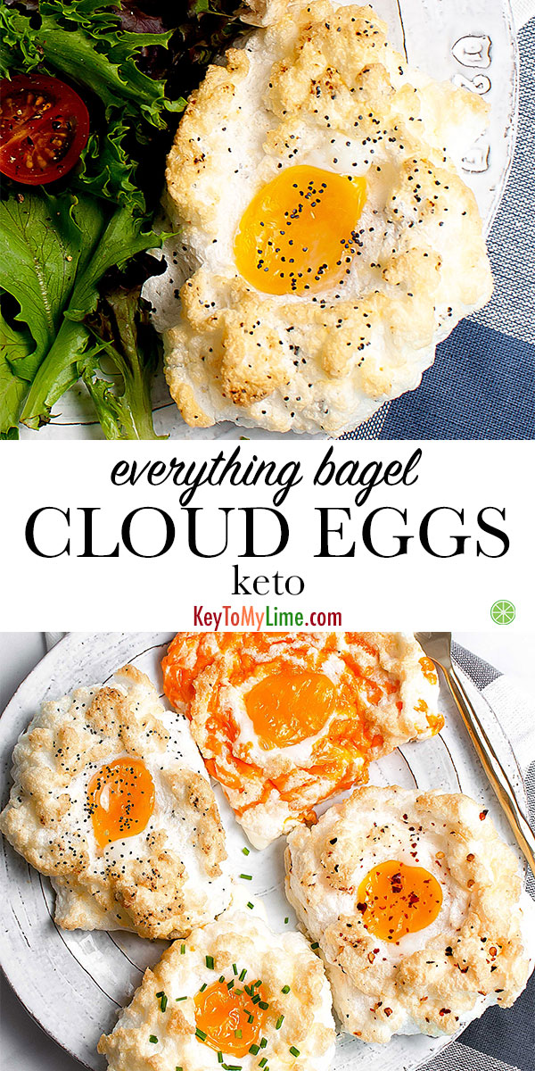 I love these delicious everything bagel cloud eggs! The everything bagel egg nests were the perfect keto breakfast and were so fun to make. They were much easier to make than they looked. Even though the everything but the bagel cloud eggs were my favorite flavor, all four flavors were so good! #keytomylime #eggs #cloudeggs #everythingbagelcloudeggs #everythingbutthebagel #ketobreakfast