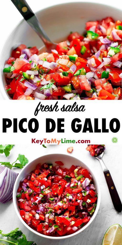 Two images of fresh pico de gallo salsa.