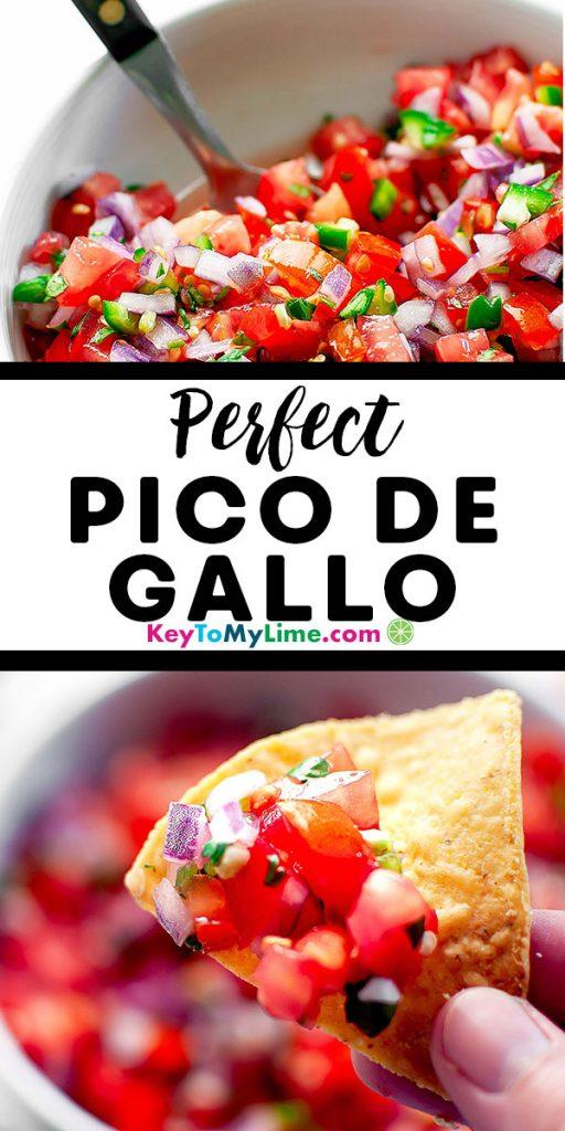 Two images of fresh homemade pico de gallo salsa.