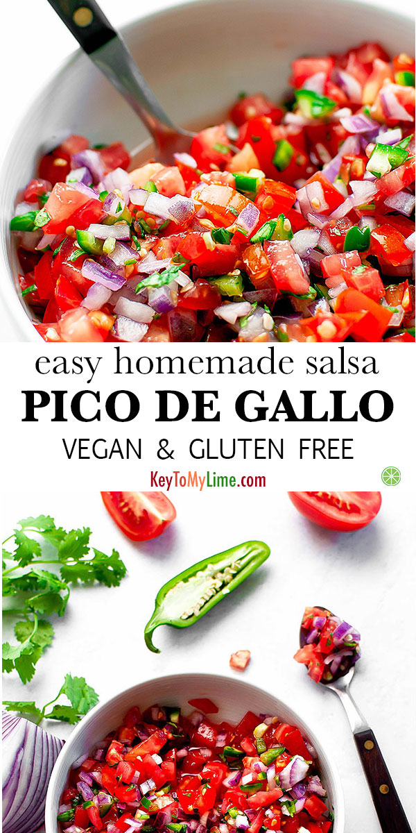 This pico de gallo is SO GOOD! There's a couple of tricks to make it the best pico de gallo, and everyone I've made it for loves it. It's perfect with chips or on top of any of my favorite Mexican foods. #picodegallo #salsa #salsarecipe #plantbased | keytomylime.com