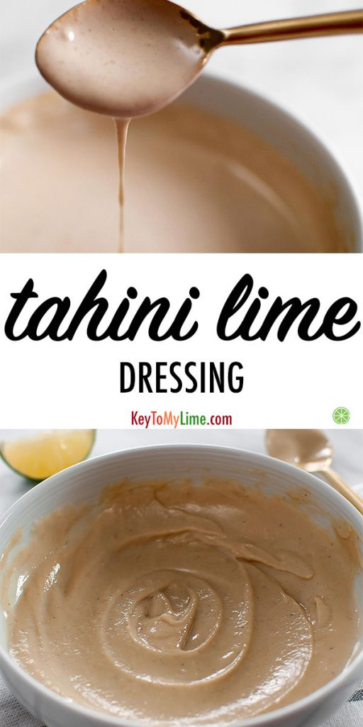 Two images of tahini lime dressing.