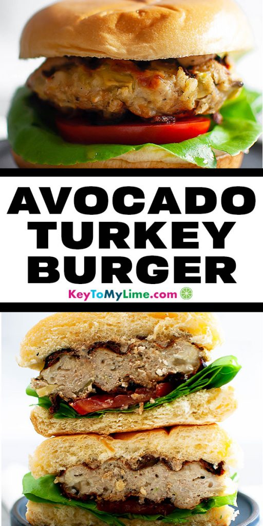 Two images of avocado turkey burgers.
