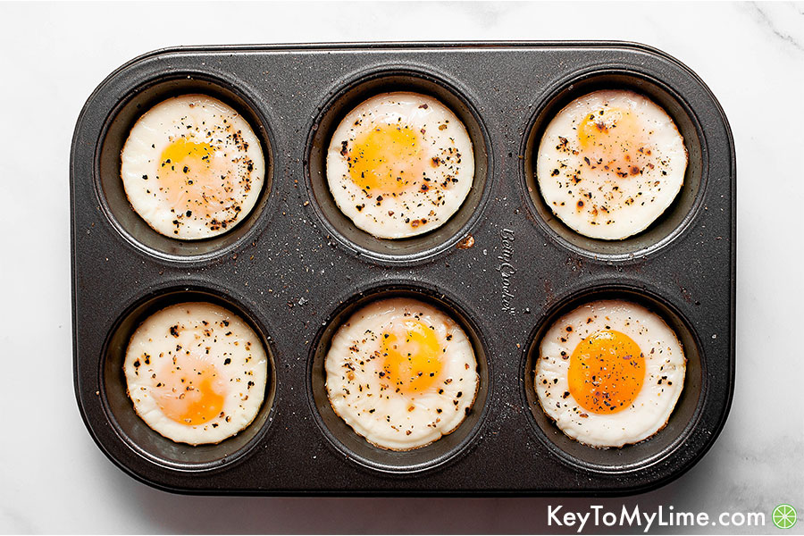 Baked eggs in a muffin tin.