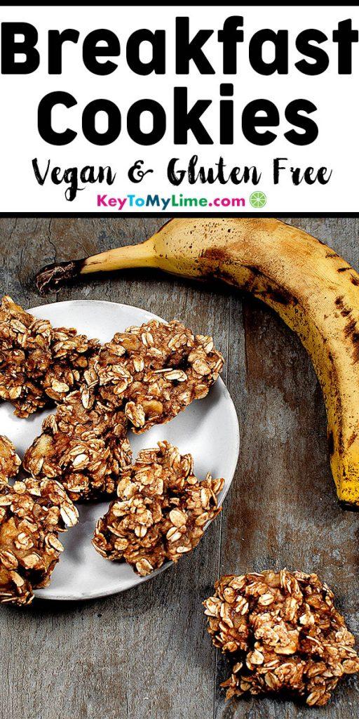 An image of vegan banana oatmeal breakfast cookies.