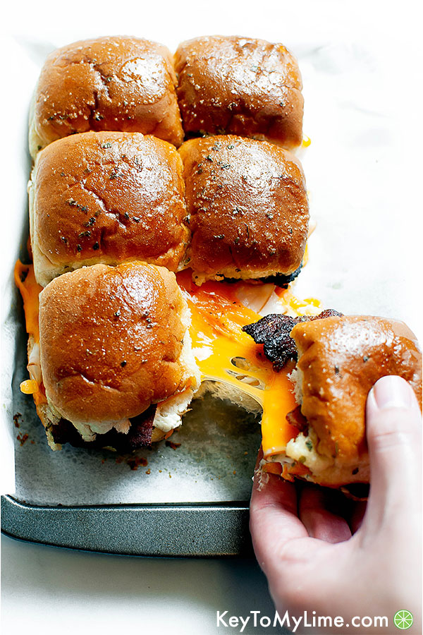 Chicken bacon ranch sandwich sliders.