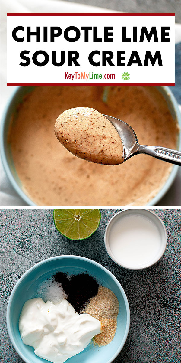 This chipotle lime sauce is SO GOOD! It's perfect to add to burritos, tacos, and quesadillas. I love keeping a batch in the fridge because it makes all my meal prep taste SO much better! #chipotle #sourcream #dip #sauce #chipotlelime | keytomylime.com