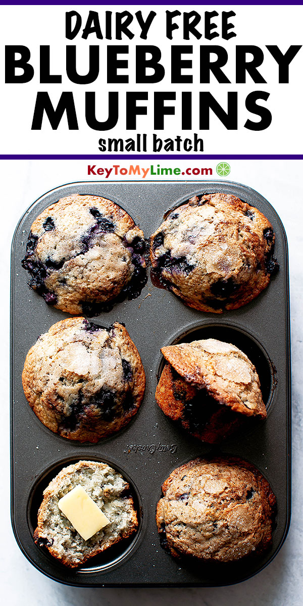 I LOVE this easy dairy-free recipe! These small batch blueberry muffins are SO good! #dairyfree #dairyfreerecipes #smallbatch #muffins #blueberrymuffins | keytomylime.com