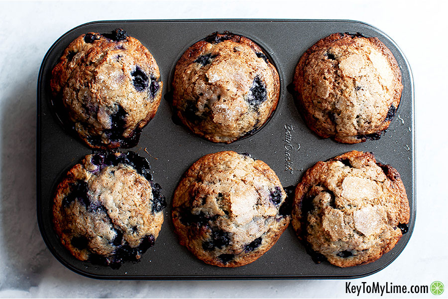 Dairy-free blueberry muffins in a muffin tin.