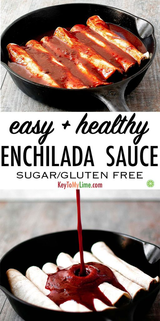 Two images of gluten free and sugar free and vegan enchilada sauce.