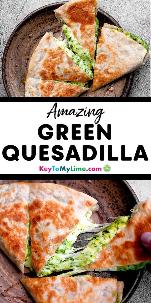 Two images of a cheese quesadilla with green sauce.