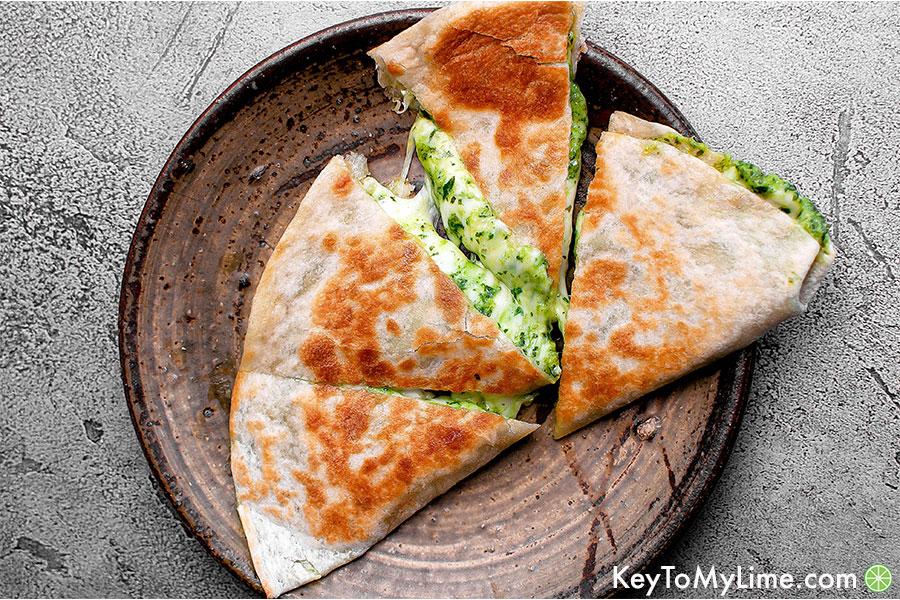 A cheesy green quesadilla.