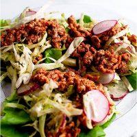 Ground Turkey Lettuce Wraps with Cilantro Lime Dressing
