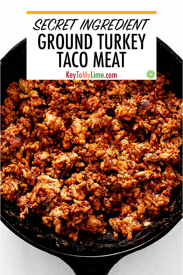 This taco meat recipe is one of my favorite ground turkey recipes! It's SO GOOD. There are two secret ingredients that make it the best ground turkey taco meat ever. Making this for every taco night from now on. #tacos #turkey #groundturkey #poultry | keytomylime.com