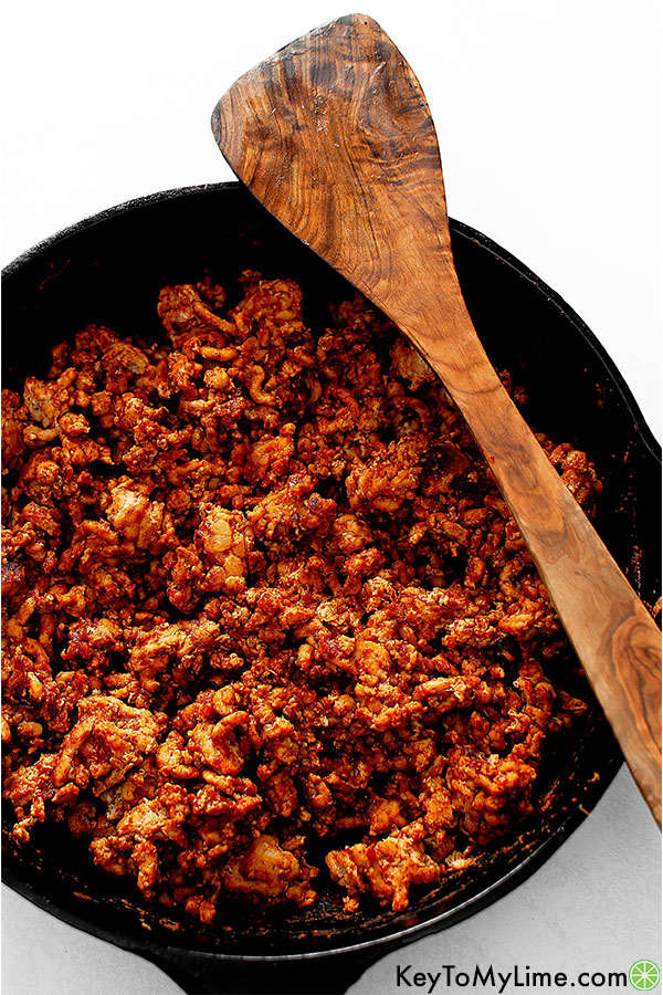 Ground turkey taco meat in a skillet.