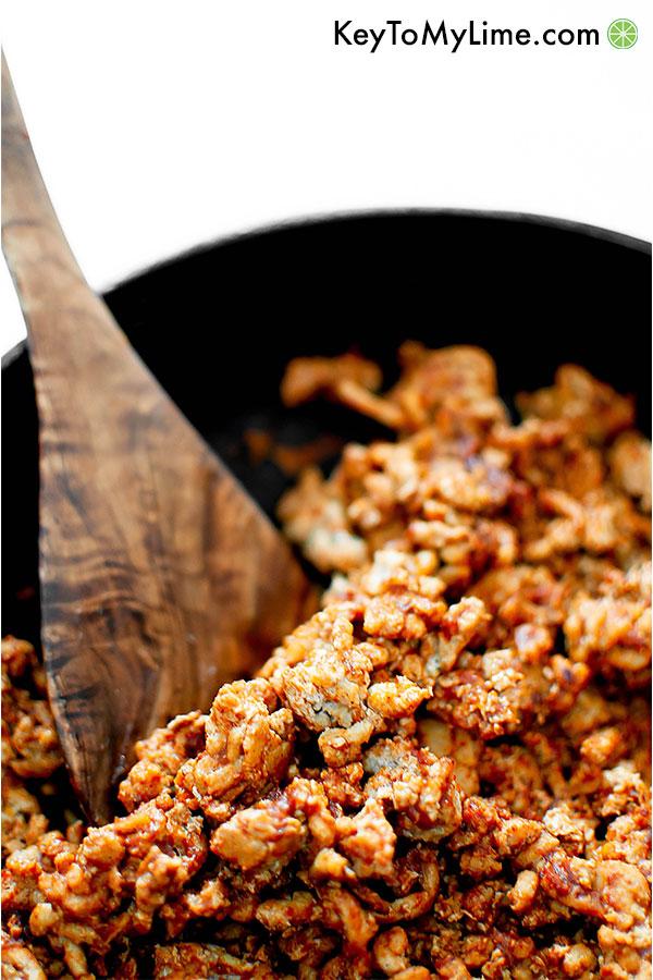Ground turkey taco meat in a skillet.
