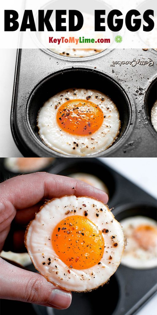 Two images showing how to bake eggs in a muffin tin in the oven.