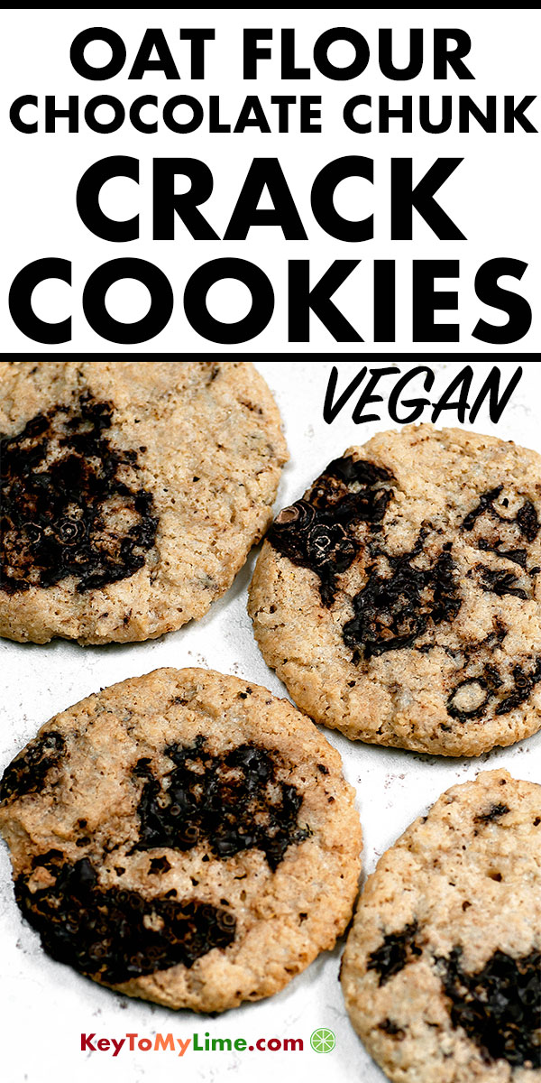 This easy oat flour cookie recipe is SO GOOD! It's made with condensed coconut milk and it makes an incredible addicting flavor. Making these all the time! #oatflour #veganrecipes #vegancookies #vegandesserts #dairyfree #chocolatechipcookies | keytomylime.com