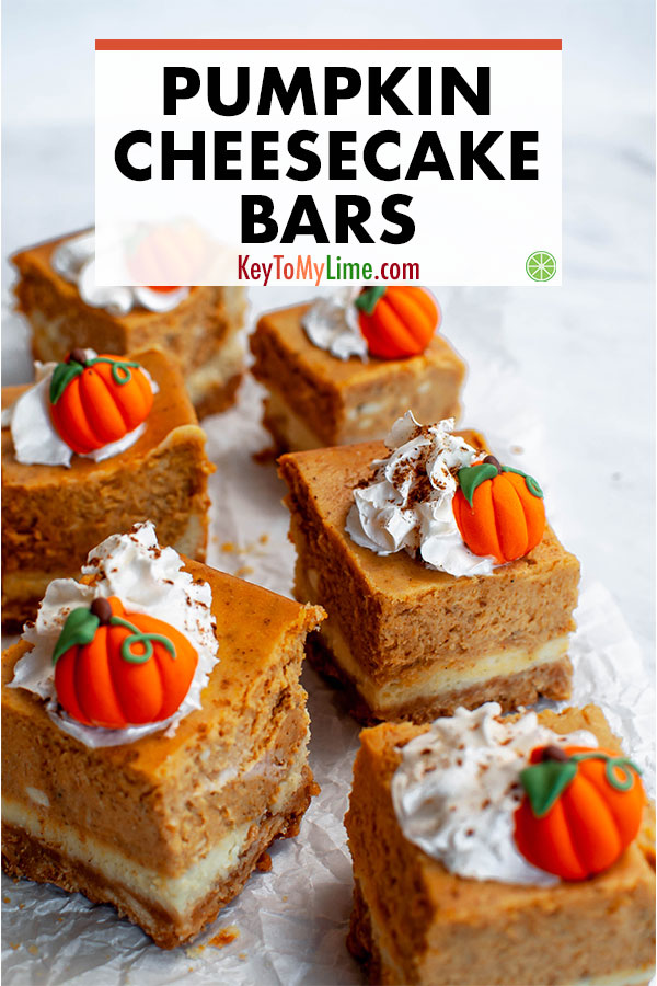 This easy recipe for pumpkin cheesecake bars is SO GOOD! I've got a stash of them in my freezer and love having one every night for dessert. These pumpkin pie cheesecake bars are officially my new favorite fall dessert! #pumpkincheesecake #pumpkindessert #cheesecakerecipes #cheesecakebars #pumpkinrecipes | keytomylime.com