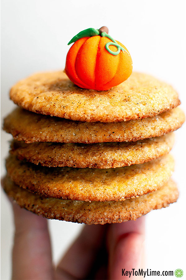 Pumpkin spice snickerdoodle cookies in a hand.