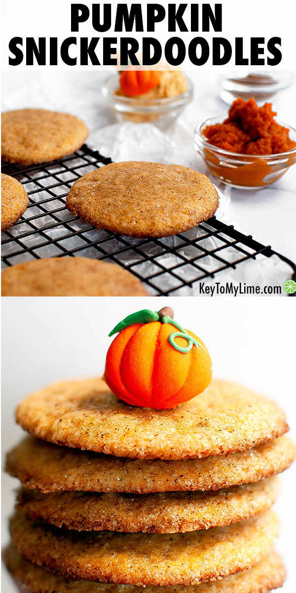 These easy pumpkin snickerdoodle cookies are SO GOOD! They're soft, so delicious, and completely melt in your mouth. There's an adaptation in the recipe, so you can either make them soft and fluffy or chewy. #pumpkincookies #pumpkinsnickerdoodles #pumpkindessert #cookies #snickerdoodles | keytomylime.com