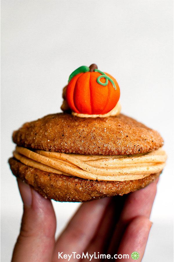 Pumpkin whoopie pies with pumpkin buttercream.