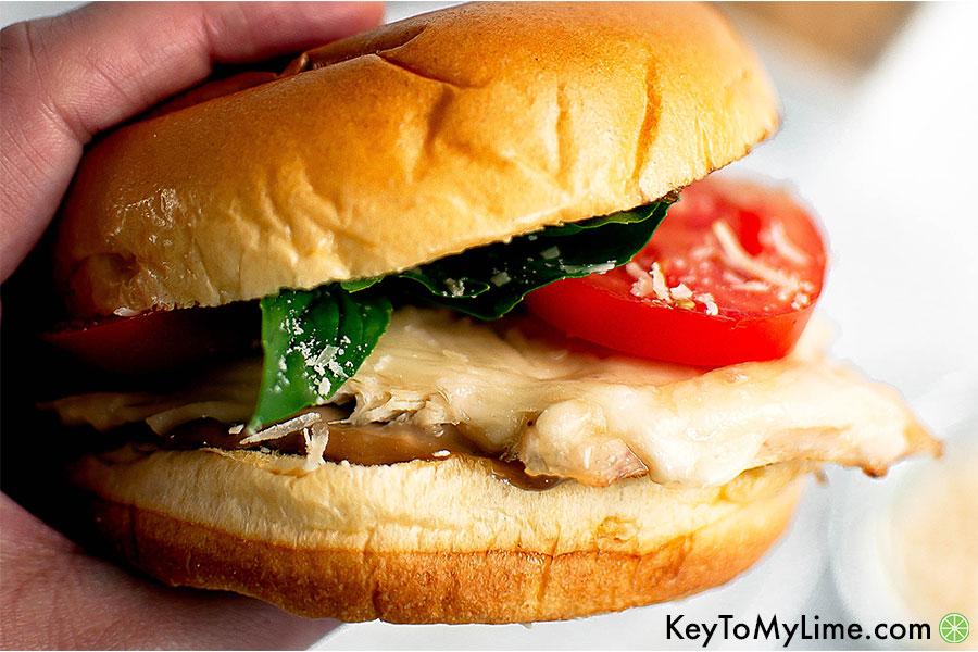 Rotisserie chicken bruschetta sandwich.