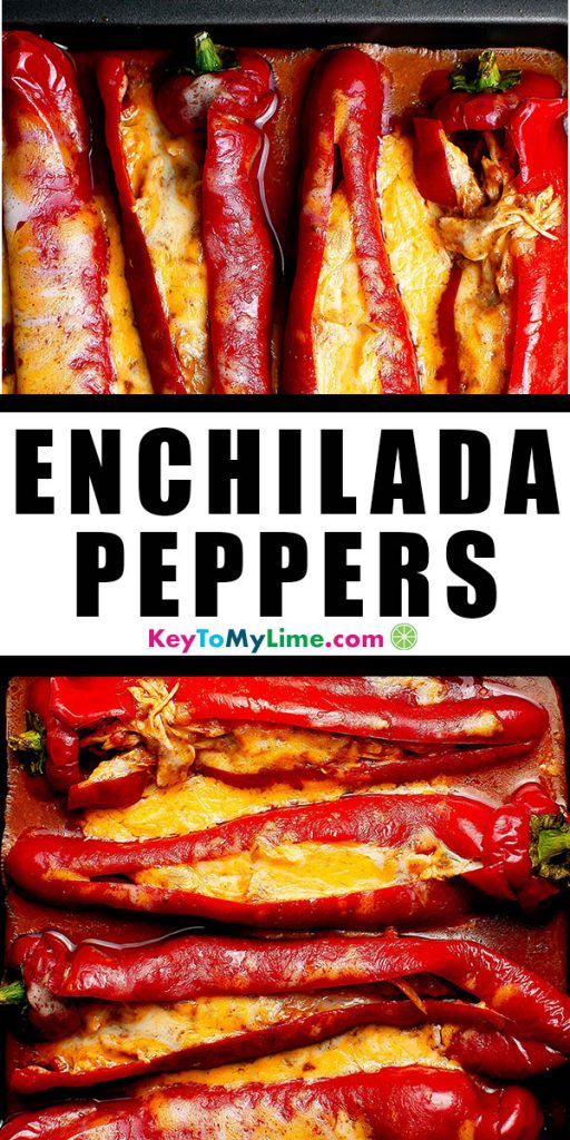 Two images of enchilada chicken stuffed peppers.