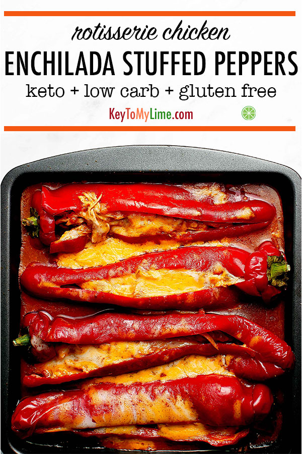 These keto enchilada stuffed peppers are amazing! They're so good and so simple. There's hardly any hands on time and they make the perfect easy weeknight dinner. Definitely adding these to our healthy weeknight dinner rotation. #lowcarbrecipes #ketorecipes #ketodinner #stuffedpeppers #healthyfood | keytomylime.com