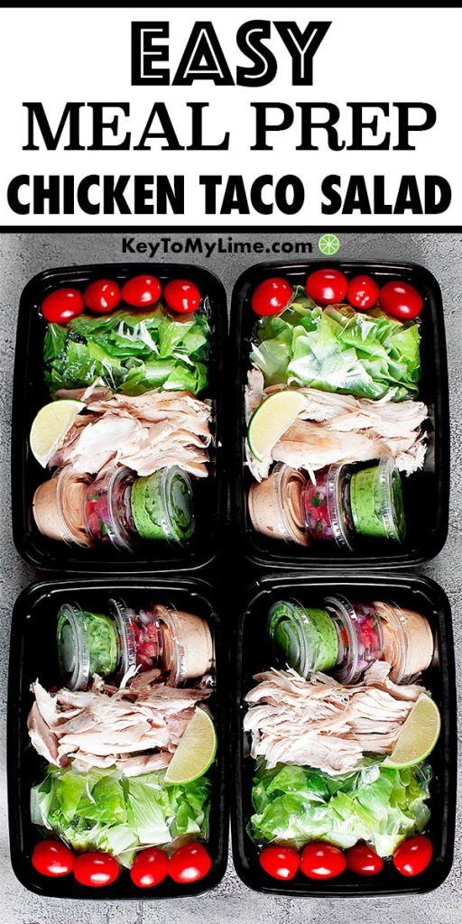 Rotisserie Chicken Taco Salad in four meal prep containers.