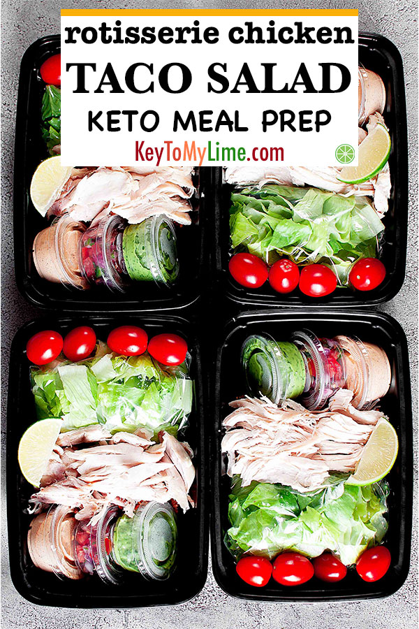 This meal prep for the week made with rotisserie chicken couldn't be any easier! It's delicious, healthy, and perfect for low carb or keto diets. Perfect for anyone looking for meal prep clean eating recipes! #rotisseriechicken #mealplanning #mealprep #mealprepideas #ketomealprep | keytomylime.com