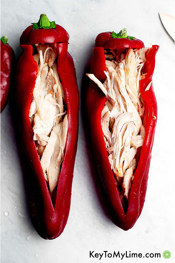 Sweet twister peppers stuffed with rotisserie chicken.