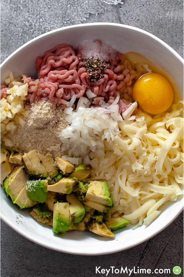Turkey burger ingredients in a bowl.
