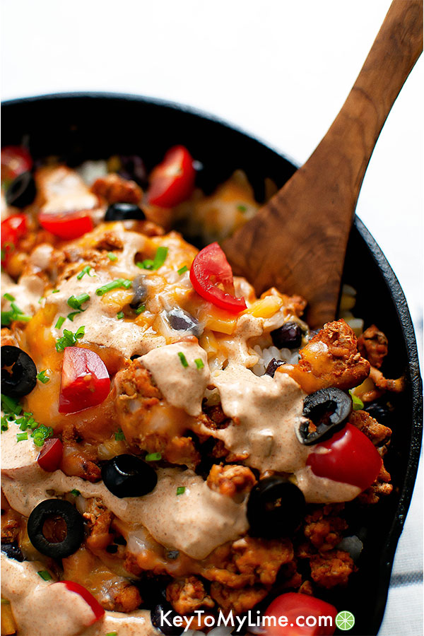 Turkey taco rice skillet.