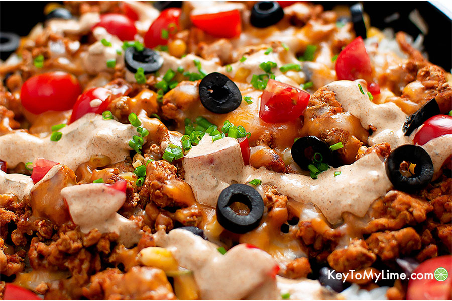Close up of turkey taco rice skillet.