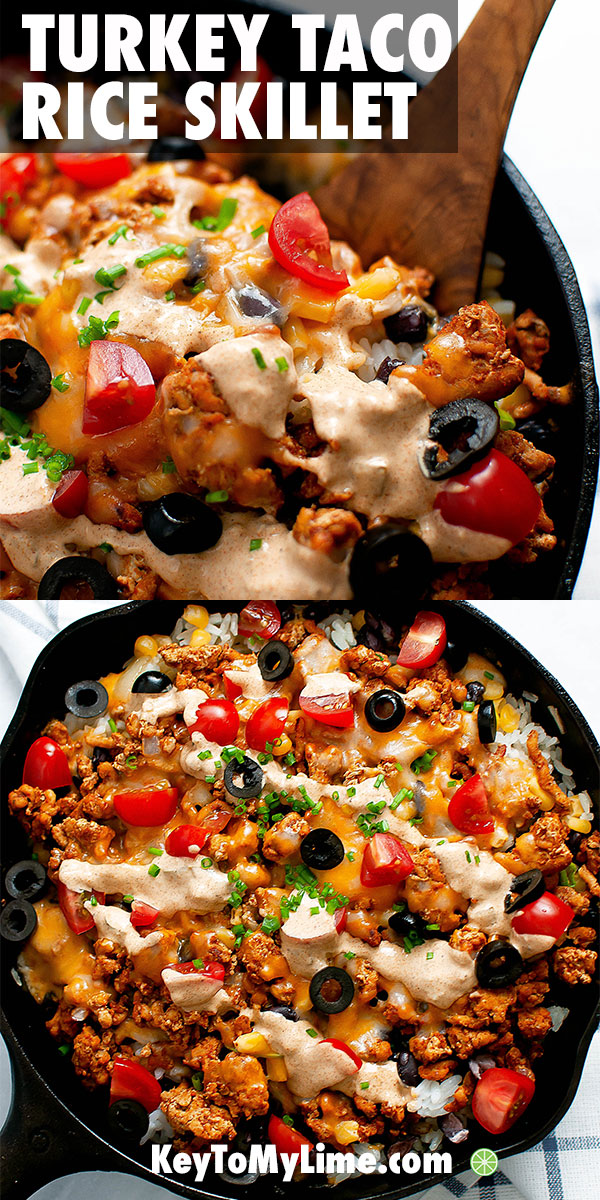 This taco skillet is SO GOOD! It's so full of flavor and perfectly cheesy. The sauce is amazing and I'm definitely making it again. Such a delicious Mexican skillet recipe! #rice #mexicanfoodrecipes #mexicancasserole #tacocasserole #texmex | keytomylime.com