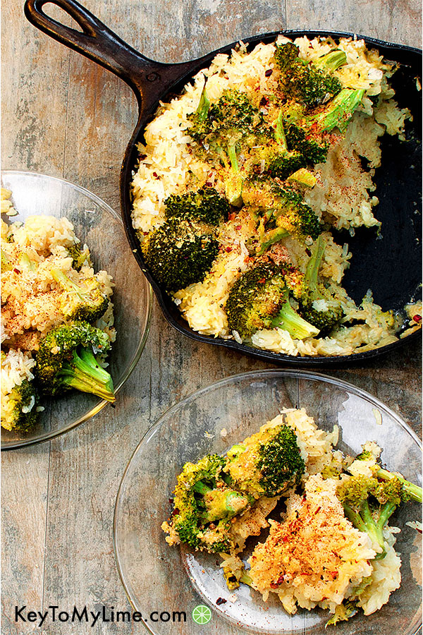 Vegan broccoli cheese and rice casserole on plates.