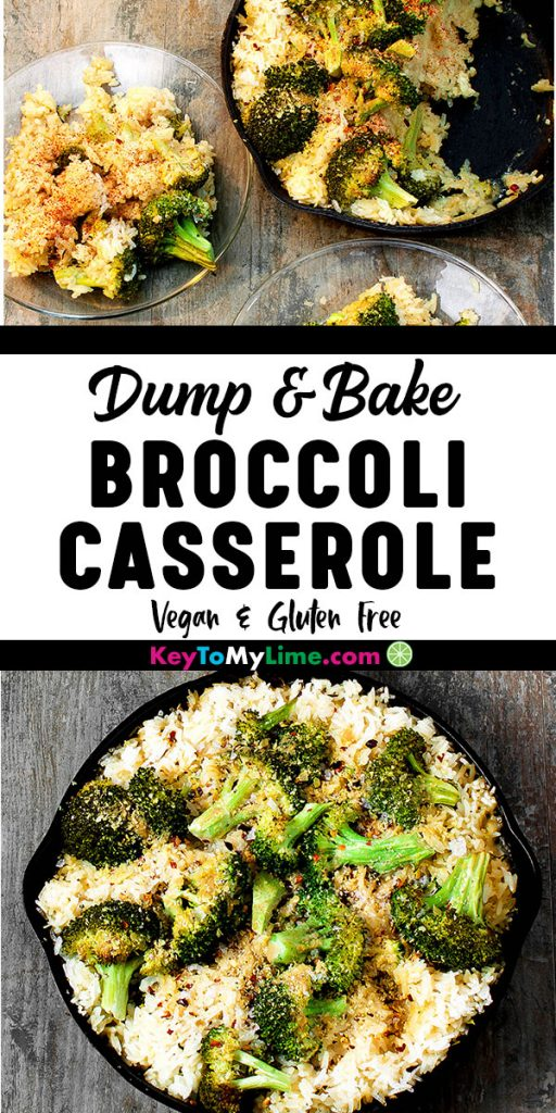 Two images of vegan broccoli cheese and rice casserole.