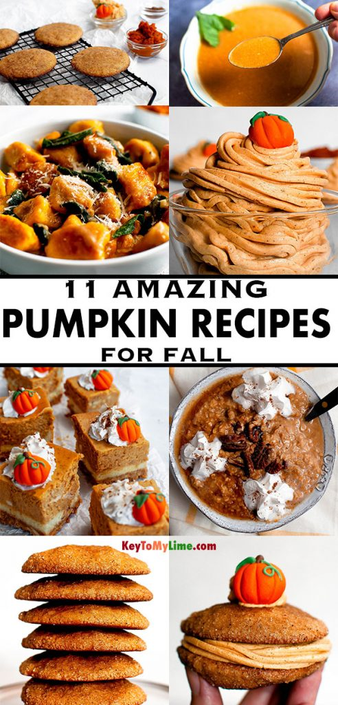A collage of different pumpkin recipes.