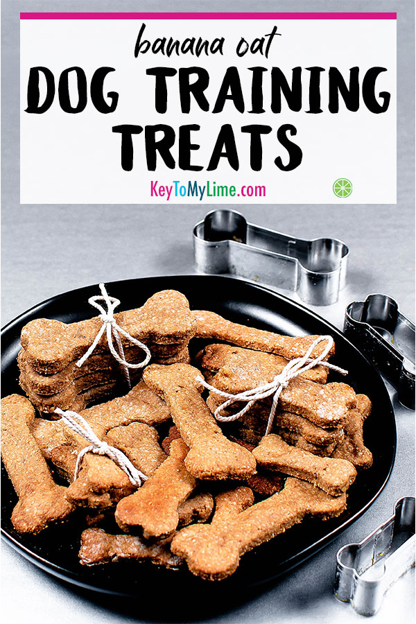 Homemade dog training treats made with peanut butter, banana, and oats.