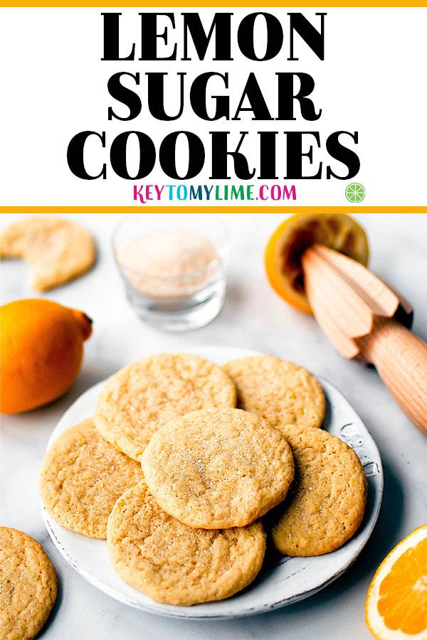 Lemon sugar cookies on a plate.