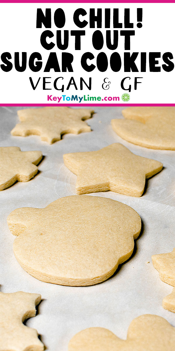 I love this vegan and gluten free sugar cookie cutout recipe! I loved not having to chill the dough before baking, it made the whole process so much easier and faster. These are such delicious and easy sugar cookies for decorating with frosting or royal icing! #sugarcookies #vegancookies #glutenfreecookies #cutoutcookies #christmascookies | keytomylime.com