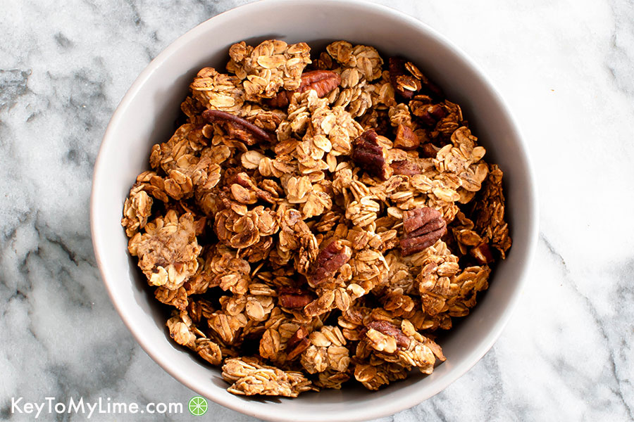 Vegan maple pecan granola that's oil-free!