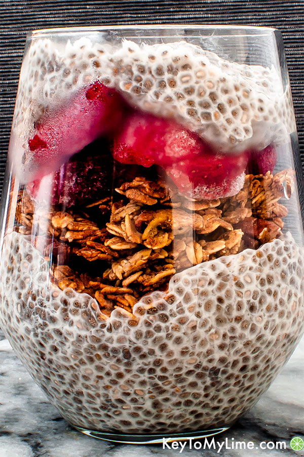 Vegan oil-free granola and chia pudding parfait.