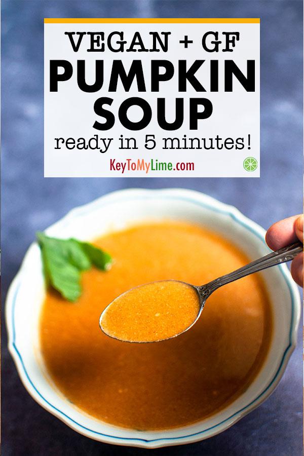 Vegan pumpkin soup in a bowl.