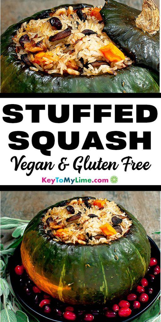Two images of vegan stuffed kabocha squash.