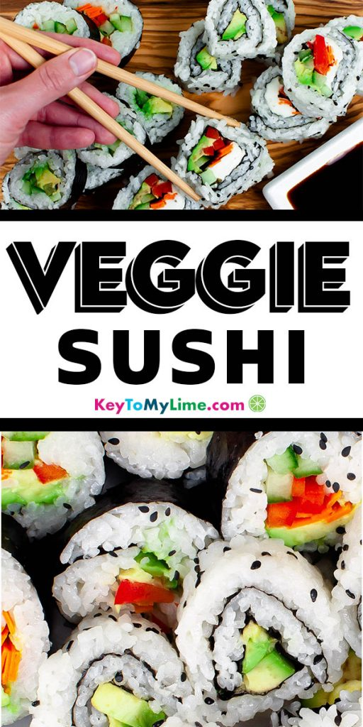 Two images of vegan sushi.