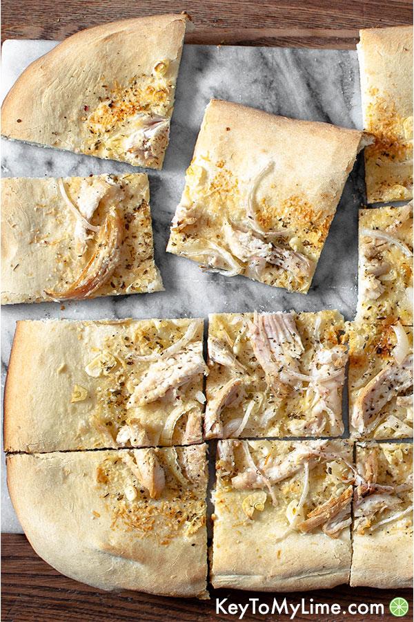 White chicken pizza close up.