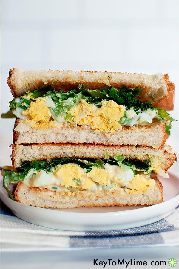 An egg salad with celery sandwich.