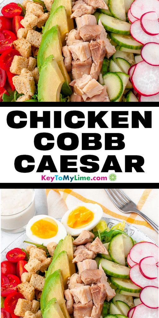 Two images of chicken caesear cobb salad.